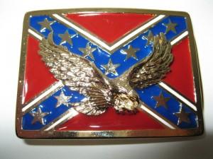 Cowboy Western Belt Buckle #ME34-Eagle on REBEL Flag