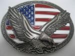 Cowboy Western Belt Buckle #NJ-110 - Eagle on USA Flag