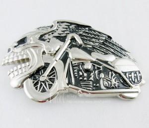 Crazy Evil Skull Man & Wings Eagle Motorcycle Rider Mens Metal Belt Buckle