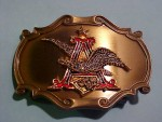 GORGEOUS New 1978 Anheuser Busch Eagle Emblem Brass Belt Buckle Mens K814