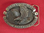 Golden Eagles National Rifle Association Solid Brass Belt Buckle Made In USA