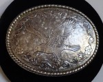 LARGE VINTAGE WESTERN BELT BUCKLE EAGLE MARKED W MADE USA