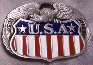 Pewter Belt Buckle patriotic USA Flag Eagle Bunting NEW