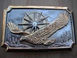 RARE BELT BUCKLE AMERICAN EAGLE DIAMOND GOLD AND SILVER PLATED BELT BUCKLE