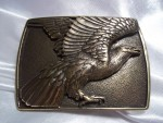 VINTAGE BRASS BELT BUCKLE W/ AMERICAN BALD EAGLE