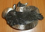 VINTAGE LIVE TO RIDE RIDE TO LIVE BELT BUCKLE-EAGLE-1981 BERGAMOT -EUC