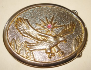 VINTAGE USA WESTERN AMERICAN EAGLE BELT BUCKLE BEAUTIFUL UNIQUE PATTERN