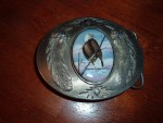 porcelain artist Julie Zsupnik belt buckle Eagle made in USA