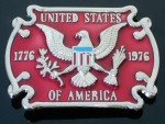 BB0142 AMERICAN INDEPENDANCE 1776 EAGLE USA FLAG BELT BUCKLE