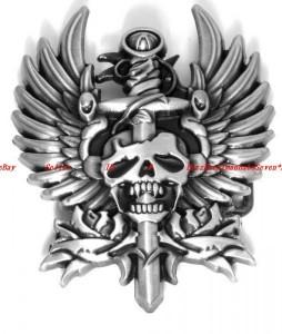 BBU1846Z EAGLE WINGS SWORD THROUGH VAMPIRE SKULL TATTOO DESIGN BELT BUCKLE