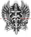 BBU1846Z EAGLE WINGS SWORD THROUGH VAMPIRE SKULL TATTOO DESIGN BELT BUCKLE
