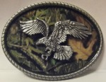 CAMO EAGLE BELT BUCKLE - EAGLE WINGS TALONS ON CAMO BUCLE