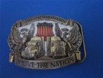 Mens Truckers Move the Nation Semi & Eagle Belt Buckle
