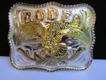 NEW MEN RODEO SILVER METAL COWBOY WESTERN FASHION BELT BUCKLE GOLD FLYING EAGLE
