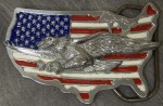 Pewter Belt Buckle Patriotic US Flag Map and Eagle NEW