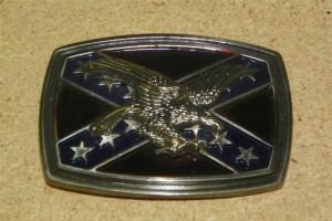 Rebel Flag - Eagle - Belt Buckle - 3 1/2