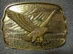 VINTAGE 1970'S GOLD TONE FLYING EAGLE WESTERN STYLE BELT BUCKLE