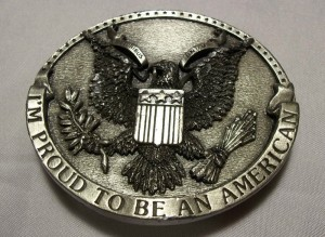 VINTAGE 1981 BERGAMOT PROUD TO BE AN AMERICAN BELT BUCKLE BALD EAGLE