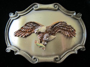 Vintage 1978 Men's Raintree American Eagle Holding Fish Brass Belt Buckle
