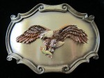 Vintage 1978 Men's Raintree American Eagle Holding Fish Brass Belt Buckle
