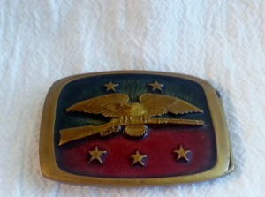 Vintage Bald Eagle Holding Riffle Rebel Southern Belt Buckle