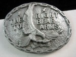 Vintage High Relief Cast American Eagle Right to Bear Arms Belt Pewter Buckle