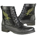 Xelement Men's Furry Logger Leather/Horse Hair Lace Up Boot with Eagle LU9022