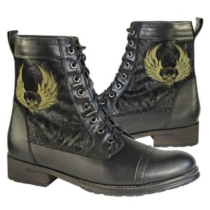 Xelement Men's Furry Logger Leather/Horse Hair Lace Up Boot with Skull LU9021