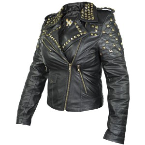 Xelement Womens Classic Leather Rebel Stud Jacket XS-B932