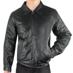 Xelement Mens Black Bomber Leather Jacket SFT-00120