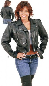 Ladies Cropped Leather Motorcycle Jacket  L200