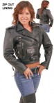 Leather Motorcycle Jacket with Side Lace and Zip Out Lining LA201LZ