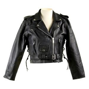 Short Leather Biker Jacket LJ602