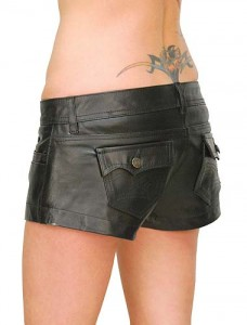 Low Rise Leather Shorts w/Button Rear Pockets SH1109K