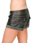 Low Rise Leather Shorts w/Studs and Suede Cuffs SH1108SK