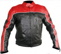 Xelement  Black and Red Leather Motorcycle Jacket 835