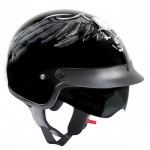 Outlaw V556 Half Helmet with Flying Skull