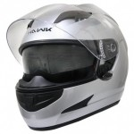 HAWK Light-Silver Dual-Visor Motorcycle Helmet AP-990