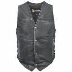 Xelement Black Distressed-Leather Biker Vest BXU-100500