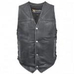 Xelement Black Distressed-Leather Biker Vest BXU-100500