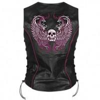 Xelement Women's Purple Winged Skull Leather Vest BXU178724