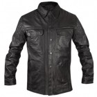 Xelement Men's Hip Length Gun Pocket Black Leather Jacket BXU100867