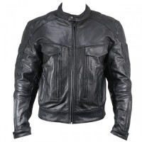 Xelement XS-1914 Armored Multi-Pocket Mens Leather Motorcycle Jacket