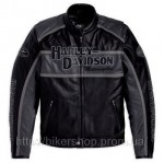 HARLEY Mens Classic Cruiser Leather Jacket Grey
