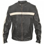 Xelement BXU-100520 Men's Dark-Brown Vintage Motorcycle Jacket with Beige Stripes