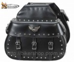 Xelement Waterproof Studded Flying Eagle Motorcycle Saddlebags X-910