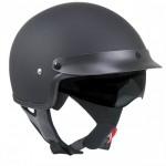 Outlaw V553 Matte-Black Dual Visor Motorcycle Half Helmet