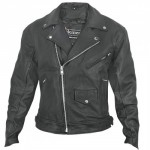 Xelement Men's Matte-Black Leather Motorcycle Jacket BXU-10580