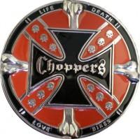 LIFE DEATH LOVE BIKES Choppers Cross Skull Belt Buckle