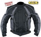 Men's Black and Grey Armored Motorcycle Tri-Tex Fabric Jackets CF-350